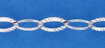 Sterling Silver Chain 639, Dimpled & Smooth Oval Cable, sold by the foot