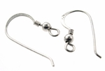 Sterling  Silver French Hook Earwires w/coil & ball (10 pair)