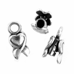 Sterling Silver 2mm Heart End Cap Crimping Per Pair for Chains, Cords and Leather
