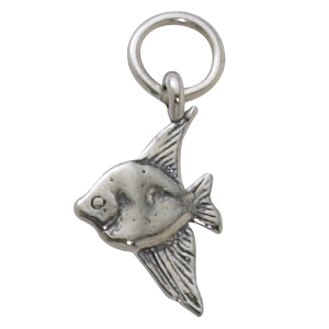 Sterling Silver Angelfish w/Light Antique Finish Charm