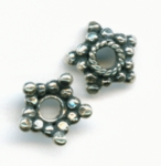 12 Sterling Silver Star Bead Caps, Made in Bali, 12 pieces, bc02