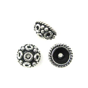 Sterling Silver Silver 7mm Bali-Style Bead Cap 19, 6 pieces, overstock sale