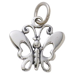 Sterling Silver Butterfly w/Cutout Wings Charm