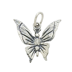 Sterling Silver Butterfly w/Light Antique Finish Charm