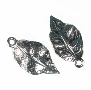 Sterling Silver Cast Leaf Pendant or Charm by JBB ee