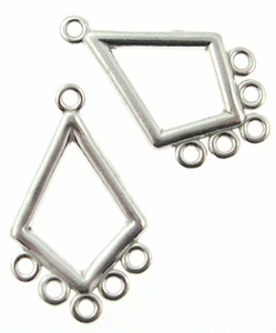 Sterling Silver Chandelier Earring Finding, Diamond Shape, 22.3x12mm per pair. nbr13