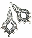 Sterling Silver Chandelier Earring Finding Fancy Filigree, Oxidized, 42.5x20mm, per pair, nbr16