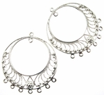 Sterling Silver Chandelier Earring Finding Ornate Double Circle Bollywood Earring Component 18