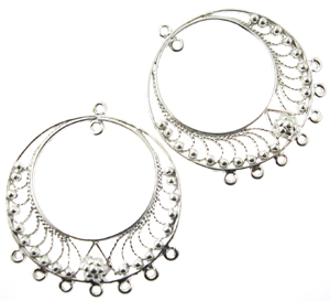 Sterling silver chandelier earring finding ornate double circle sterling silver chandelier earring finding ornate double circle bollywood earring component 18 aloadofball Gallery