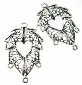 Sterling Silver Chandelier Earring Finding Filigree Leaf Component 19