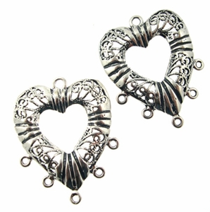 Sterling Silver Chandelier Earring Finding Filigree Heart Component 20