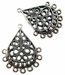 Sterling Silver Chandelier Earring Finding Filigree Teardrop Component 3