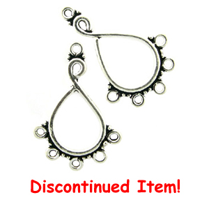 Sterling Silver Chandelier Earring Finding, Large Teardrop, Lightly Oxidized, 30.7x21.5, per pair, nbr35