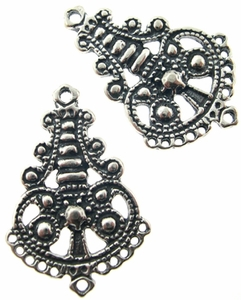 Sterling Silver Chandelier Earring, Multi Station, Oxidized, 27x18.8mm, per pair,nbr6