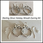 Holiday Wreath Earrings Kit - Wreaths &  Earwires - Sterling Silver