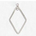 Sterling Silver Earring Component, Twisted Wire Flat, Diamond Dhape, 23.5x9.3mm, per pair, nbr10