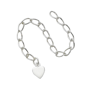 "Sterling Silver Extender Chain - 3"", with 6mm Heart"