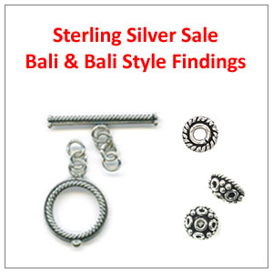 ON SALE - Sterling Silver Bali & Bali Style Beads, Beadcaps and Toggles