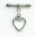 Sterling Silver Heart #21 Toggle 13mm