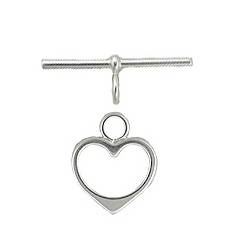 Sterling Silver Heart Toggle 15mm - #23