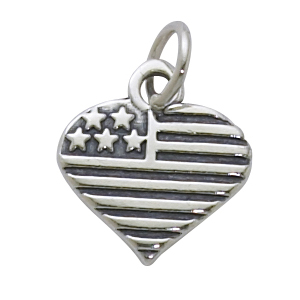 Sterling Silver Heart  w/Inset USA Flag Charm - 1 left