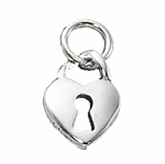 Sterling Silver Heart with Key Hole Charm