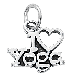"Sterling Silver ""I Love Yoga"" Charm *new*"
