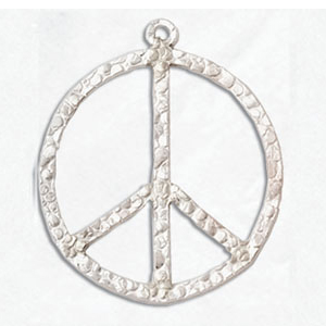 Sterling Silver Large 21mm Peace Textured Charm