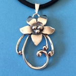 Sterling Silver Large Fancy Flower Pendant