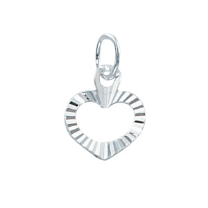 Sterling Silver Medium Open Diamond Cut  Heart Charm