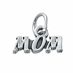 Sterling Silver Mom Charm w/Cutout Letters