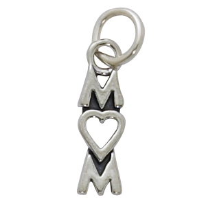 Sterling Silver Mom Charm w/Heart for O