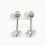 Sterling Silver Post Earrings, 4mm ball with ring and nut  (5 pair)