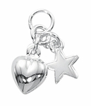 Sterling Silver Puff Heart and Star Charm - 2 left