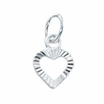 Sterling Silver Small Open Diamond Cut  Heart Charm