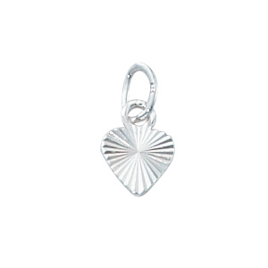 Sterling Silver Small Solid Diamond Cut  Heart Charm