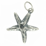 Sterling Silver Small Starfish Charm - Antique Finish