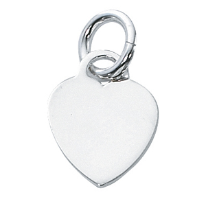 Sterling Silver Solid Heart 16mm Charm - Engrave it!