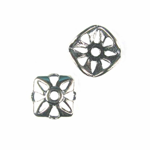 Sterling Silver Square 8.5mm Bead Cap 17 (6 pk)