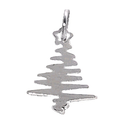 Sterling Silver Squiggly Xmas Tree Charm