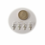 Sterling Silver Tiny Flat Cross Charm, 4 pieces