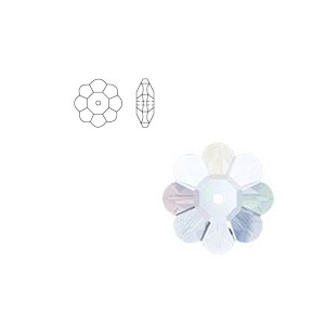 Swarovski 3700 10mm Margarita Clear Crystal (6pcs),  Marguerite Lochrose, Sew On, Spacer Bead