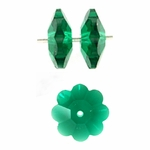 Swarovski 3700 10mm Margarita  Emerald,  (6pcs),  Marguerite Lochrose, Sew On, Spacer Bead