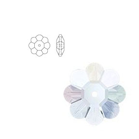 Swarovski 3700 12mm Margarita Clear Crystal (6 pcs),  Marguerite Lochrose, Sew On, Spacer Bead