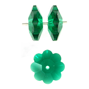 Swarovski 3700 12mm Margarita  Emerald (4pcs) ,  Marguerite Lochrose, Sew On, Spacer Bead