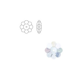 Swarovski 3700 6mm Margarita Clear Crystal (24),  Marguerite Lochrose, Sew On, Spacer Bead