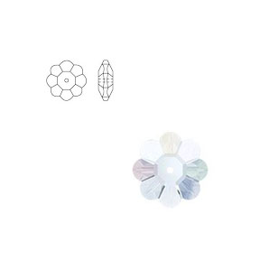 Swarovski 3700 8mm Margarita Clear Crystal (12pcs),  Marguerite Lochrose, Sew On, Spacer Bead