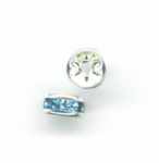Swarovski 5mm Metal Rondell Silver with Aquamarine Crystals (12pk)