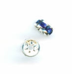 Swarovski 5mm Metal Rondell Silver with Capri Blue (12pk)