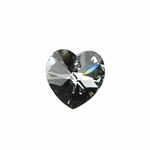Swarovski 6202 10mm Crystal Heart Pendant Crystal Silver Night